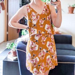 Entro Floral Flounce Top Open Back Mini Dress